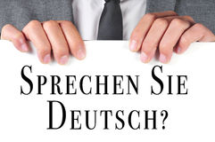 Sprechen sie deutsch? do you speak german? written in german Stock Photo