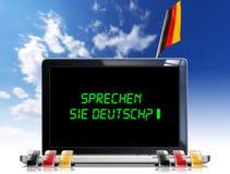 Sprechen Sie Deutsch? - Laptop-Computer Lizenzfreie Stockfotos