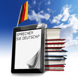 Sprechen Sie Deutsch? - Tablet Computer. Black tablet computer with pages and phrase Sprechen Sie Deutsch? on display, stack of books and German flag on a blue Royalty Free Stock Photography