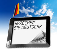 Sprechen Sie Deutsch? - Tabletcomputer Royalty-vrije Stock Fotografie