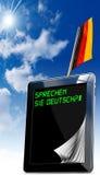 Sprechen Sie Deutsch? - Tabletcomputer Stock Foto