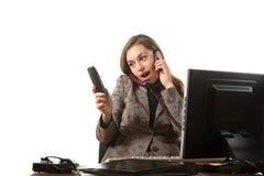 Sprechen Sie durch drei Telefone Stockfotos