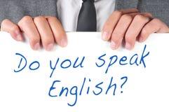 Sprechen Sie Englisch? stockfotos