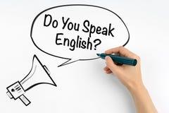 Sprechen Sie Englisch? Megaphon und Text auf einem weißen Hintergrund stockfotos