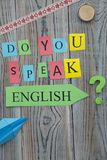 Sprechen Sie englische Aufschrift lizenzfreies stockfoto