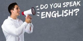 Sprechen Sie Fremdsprachelernen- Schuljungen Mann Englisch stockfoto