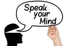 Sprechen Sie Ihre Sinneskarikatur-Blasen-Hand Stockbild