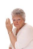 Sprechen Sie nicht mit mir, ältere Frau Lizenzfreies Stockbild
