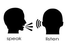 Sprechen Sie und hören Sie Symbol Lizenzfreie Stockfotografie