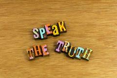 Sprechen Sie Wahrheitsehrlichkeitsstimme stockbild