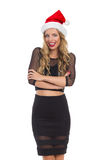 Sprechende elegante Frau im schwarzem Kleid und in Santa Hat Stockbild