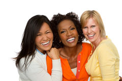 Sprechende und lachende Freunde Stockfotografie