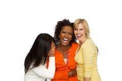Sprechende und lachende Freunde Stockbild