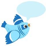 Sprechender blauer Vogel Vektorillustration auf einem weißen Hintergrund Unterhaltungsvogel-Spielzeug Stockbilder