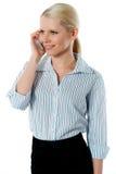 Sprechengeschäftsabkommen der attraktiven Unternehmensfrau lizenzfreie stockfotos