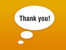 Sprechenluftblase mit dem Danken Stockbild