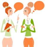 Sprechenrede der Geschäftsfrau denken Luftblase Lizenzfreies Stockfoto