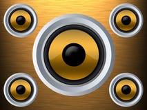 Sprecher auf einer Goldmetallbeschaffenheit Lizenzfreie Stockbilder
