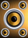 Sprecher auf einer Goldmetallbeschaffenheit Lizenzfreies Stockbild