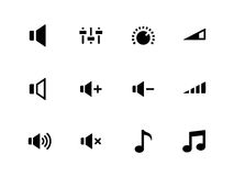 Sprecherikonen auf weißem Hintergrund. Lautstärkeregler. Stockfotografie