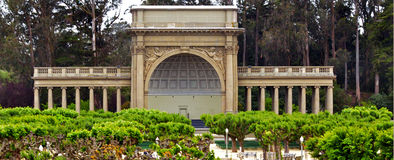 Spreckels Temple of Music in Golden Gate Park San Francisco - Ca. Panoramic view of Spreckels Temple of Music at Music Concourse plaza in Golden Gate Park San stock images