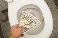 Spreco del concetto dei soldi Fotografie Stock Libere da Diritti