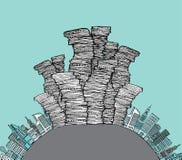Spreco della città/orizzonte dell'immondizia Fotografia Stock Libera da Diritti
