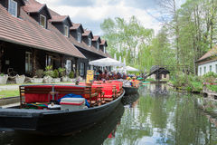 Spree Forest canal with boats Stock Photography