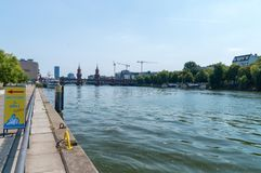 Spree river in berlin with Oberbaum Bridge in background. royalty free stock photography