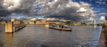 Spree river panorama berlin royalty free stock photography