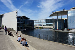 Spree river passing between Paul-Lobe-Haus building and Marie-Elisabeth-Lüders-Haus building in the government district of Berlin Royalty Free Stock Images