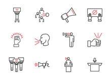 Spreek uit de inzameling van het overzichtspictogram Luide advies vectorillustratie royalty-vrije illustratie
