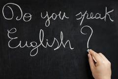 Spreekt u Engels Hand het Schrijven Bord Stock Afbeelding