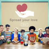 Spreid Uw Liefde uit die Handen helpen Concept schenken Stock Fotografie