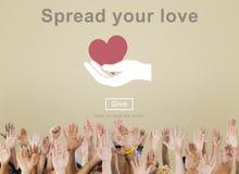 Spreid Uw Liefdehoop uit Natuurlijke Vlot Concept kweekt Royalty-vrije Stock Afbeeldingen