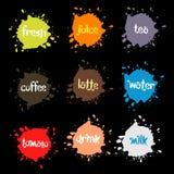 Sprej bläckar ner, färgrik bildfläck som ovanliga moderna logoer ställer in Arkivbilder