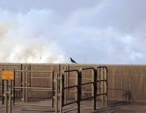 Sprej ovanför uttaget av den Merowe vattenkraftstationen Arkivfoto