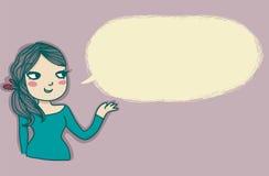 Sprekend meisje met lege ballon Royalty-vrije Stock Fotografie