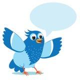 Sprekende Blauwe Vogel Vectorillustratie op een witte achtergrond Royalty-vrije Stock Fotografie