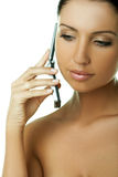 Sprekende celtelefoon stock foto