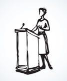 Spreker bij podium Vector tekening Stock Foto's