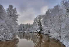 Spremberg river Spree in Winter Stock Photos