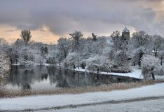 Spremberg slott i vinter Royaltyfri Foto