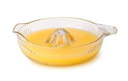 Spremiagrumi arancio di vetro Fotografia Stock Libera da Diritti