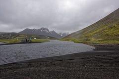 Sprengisandur, плато гористой местности в Исландии Стоковое Фото