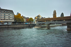 Spreuer Bridge and The Reuss River in City of Luzerne Stock Photo