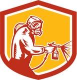 Sprühfarbe-Gewehr-Maler Spraying Shield Retro Lizenzfreies Stockbild