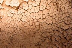 Spricka av texturbakgrund för torr jord Royaltyfri Fotografi