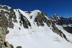 Spricka för Bergschrund bergsnö royaltyfri foto