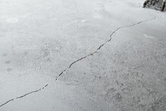Spricka i cementgolv från krympning av huset royaltyfri bild